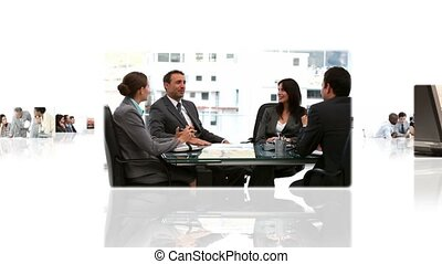 Montage of businessmen talking in meeting and on the phone