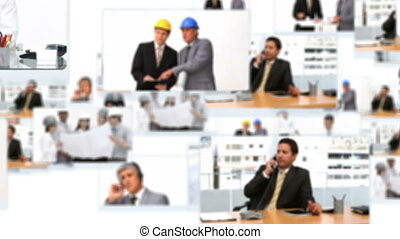 Montage of businessmen working hard at the office