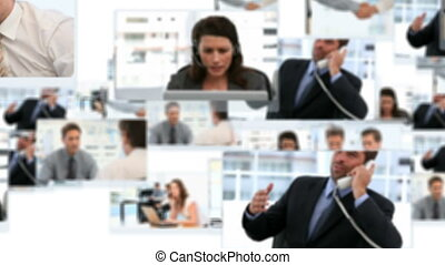 Montage of businessmen working at the office