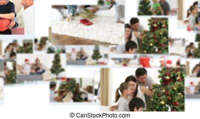 Montage of children decorating