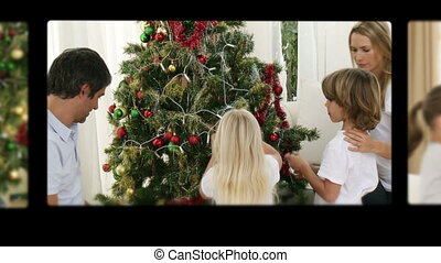 Montage of children preparing xmas