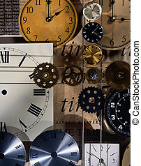 Montage of Clock Faces and Gears