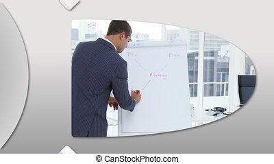 Montage of confident business people doing a presentation at work