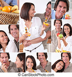 Montage of couple with fruit