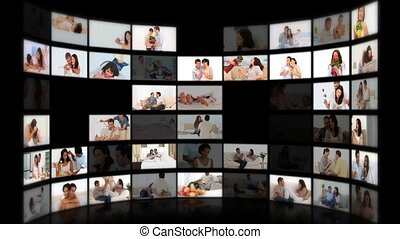 Montage of couples having fun at home