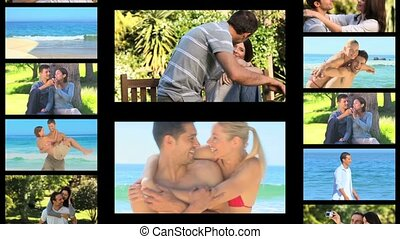 Montage of couples outdoors