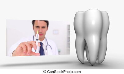 Montage of dental workers on white