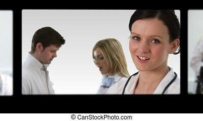 Montage of doctors and nurses looking at the camera