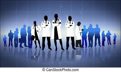 Montage of doctors working elderly