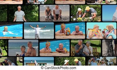 Montage of elderly couple spending