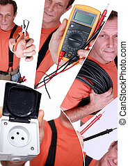Montage of electrician with equipment