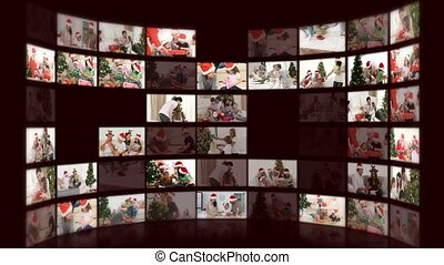 Montage of families celebrating christmas at home