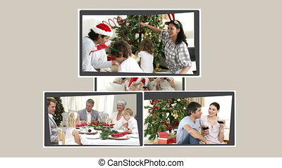 Montage of families celebrating Christmas Day together