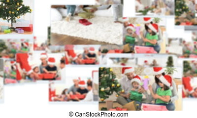 Montage of families celebratingxmas