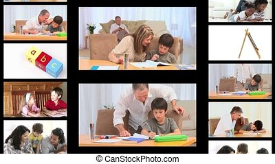 Montage of families doing homework