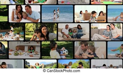 Montage of families having a good time