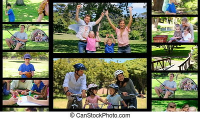 Montage of families having fun in t