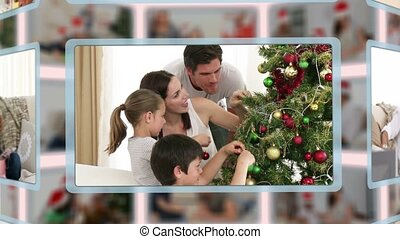 Montage of families on Christmas da