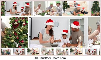 Montage of families spending Christmas together