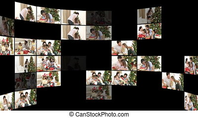 Montage of family at Christmas