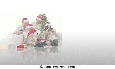 Montage of family celebrating chris