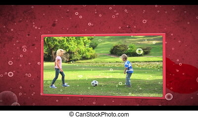 Montage of family outdoors clips on