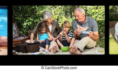 Montage of grandparents spending ti