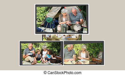 Montage of grandparents spending ti