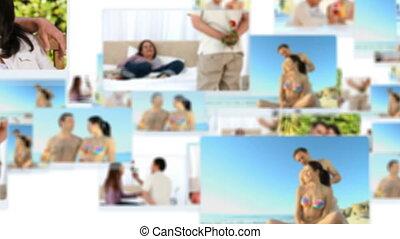Montage of happy couples spending s