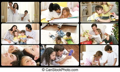 Montage of happy families playing at home in high definition...