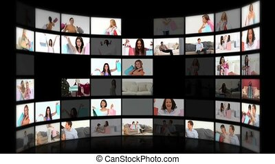 Montage of happy women having done their shopping