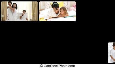 Montage of joyful families having