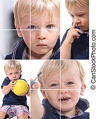 Montage of little boy