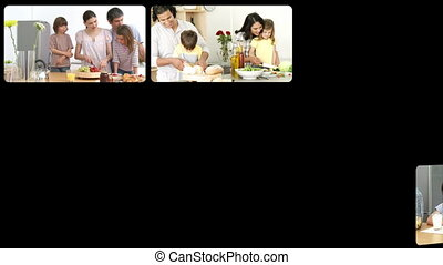 Montage of lively families in the kitchen in HD
