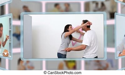Montage of lovely couples sharing and enjoying different kinds of moments together at home