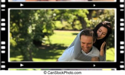 Montage of lovers spending time together at home and outdoors