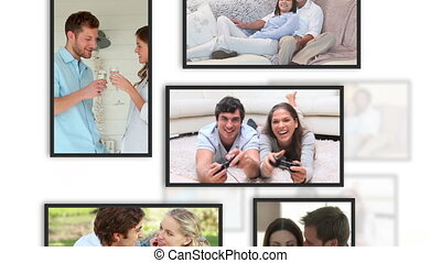 Montage of lovers videos into frame