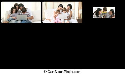Montage of loving families having f