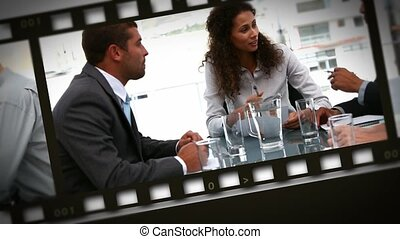 Montage of meetings for business
