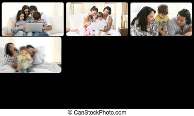 Montage of mirthful families having