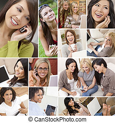 Montage of Modern Women Technology Lifestyle - Montage of...