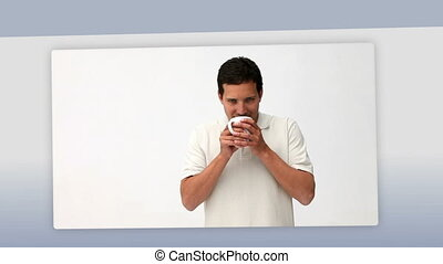 Montage of people enjoying a cup of
