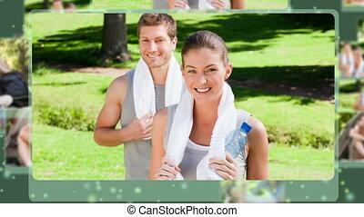 Montage of people enjoying leisure