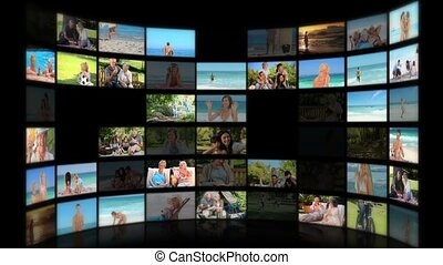 Montage of people relaxing on the beach and in the park