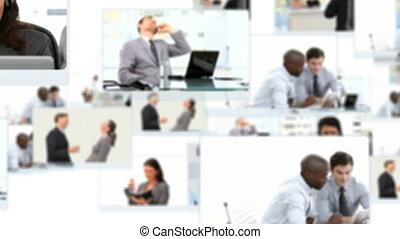 Montage of people working