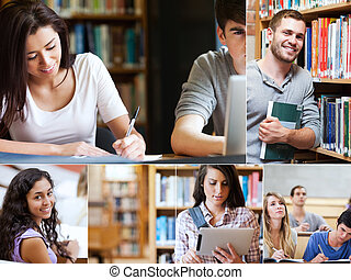 Montage of pictures showing various students with books in...