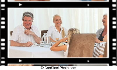 Montage of pleased families spending time together at home