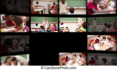 Montage of pupils with teacher