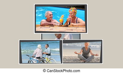 Montage of retired couples relaxing
