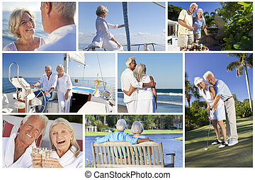 Montage of Senior People Lifestyle Golf & Sailing